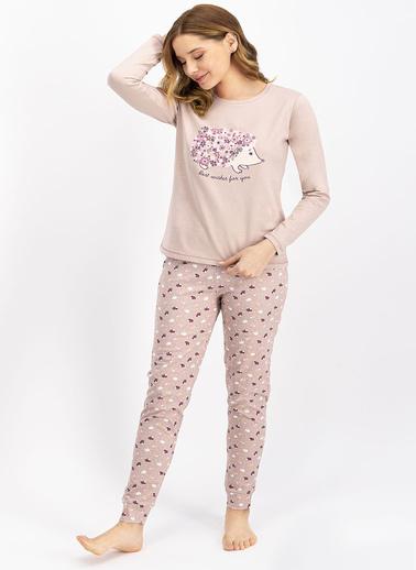 Arnetta Hedgehog Soluk Kahve Kadın Pijama Takımı Kahve